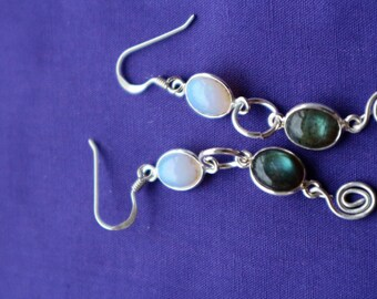 Opal and labradorite sterling silver earrings