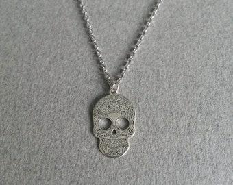 925 sterling silver skull necklace