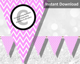 Pink Chevron Bunting Pennant Banner Instant Download, Party Decorations