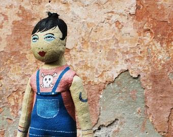 Tatouage de poupée poupée poupée, peints à la main folk, Emo Tronika
