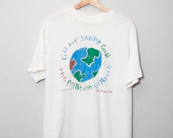 Vintage 1990's Keep The Workd Green Planet Earth Shirt | Size Medium