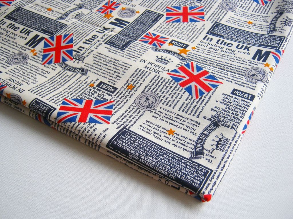 How To Cover Book With Newspaper ~ British newspaper cotton fabric uk flag united kingdom