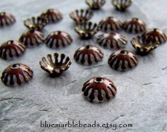 Enamel Bead Caps-Enamel Bead-Filigree Bead Cap-Enamel Findings-Vintage Finding-Vintage Brown Bead Caps-20 Pieces