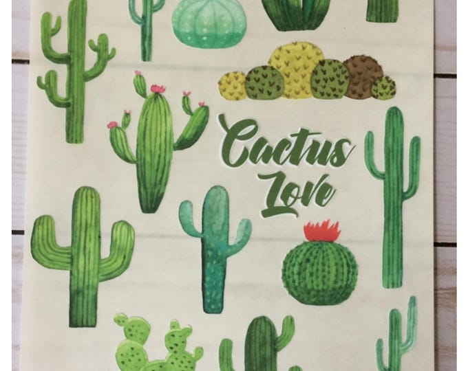Featured listing image watercolor desert cactus sticker sheet set cactus love