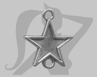 Star connector in silver metal 18 mm