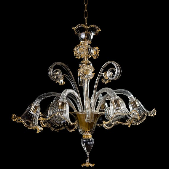 Casino murano chandelier 6 lights crystal gold aloadofball Choice Image