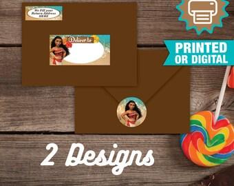 Printed or Digital Moana Address Labels, Moana Envelope Seals, DIY, Moana Birthday, Moana Party, Moana Birthday Decoration, Moana Labels