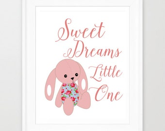 Sweet Dreams Little One, Nursery Printable, Baby Girl Nursery, Bunny Nursery Print, Babys Room Decor