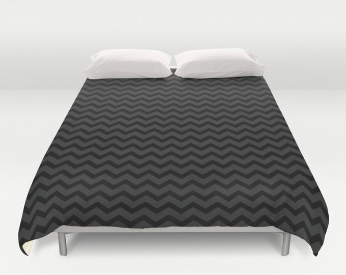 Black and Gray Small Chevron Print Duvet Cover - Chevron Bed Spread - Bed Cover -  Duvet Cover Only - Bedding - Made to Order