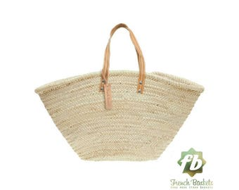 straw bag Handmade french market basket beach bag market basket wicker bag - Natural straw Basket Short Flat Leather Handle