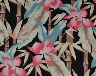 Vintage 90s tropical fabric pink orchids Asian Bamboo South Beach Florida Deco large scale floral pareo beach cover up Polynesian Hawaiian