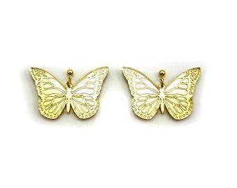 BUTTERFLY Statement Earrings - Gold Butterfly, Butterfly, Gold Bug, Laser Cut Earrings, Butterfly earring, Metallic Butterfly, Plastic