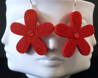 Ruby Funky Felt Flowers Earrings