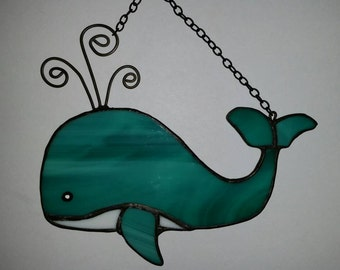 Cute friendly turquoise Stained glass whale sun catcher, Custom Colors Available