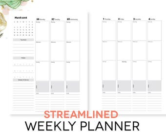 """2018 Weekly Planner Printable - Simple Black and White Design, Timed Calendar, Digital Pages INSTANT DOWNLOAD, 8.5""""x11"""""""