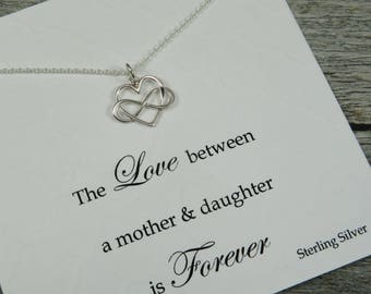 Infinity Heart Necklace - Sterling Silver Necklace - Heart Charm - Infinity Heart - Gift For Daughter - Love Between A Mom & Daughter