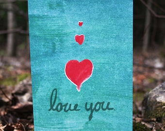 Love You Hearts Simple Greeting Card