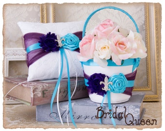 Purple and Turquoise Wedding Flower Girl Basket Set and Ring Bearer Pillow