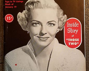 """TV Digest 1/19/1952 with Vivian Blaine from """"Those Two"""" on the cover"""