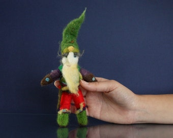 Needle Felted Gnome, Forest Keeper costume, Handmade Art Doll for woodland lovers, Waldorf needle felted Tomte, Guarding figurine, green hat