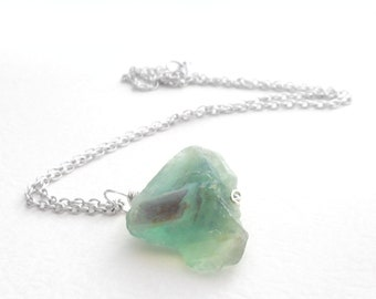 Rainbow Fluorite Pendant, Rough Gemstone Jewelry: Purple & Green