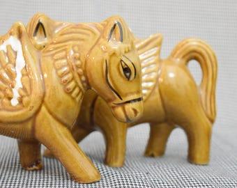 Tang Dynasty-Style Pegasus   Pair   Ceramic