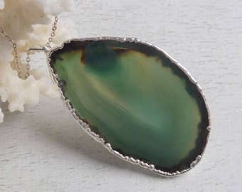 Agate Necklace, Green Agate Necklace, Boho Necklace, Long Necklace, Silver Necklace, Layer Necklace, Geode Necklace, Bohemian Jewelry, 8-112