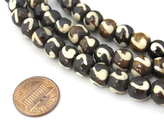 10 bone beads - Tibetan bone beads supply 10 mm size - ML064B