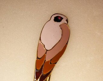 Vintage parrot enamel figural brooch with red rhinestone eye