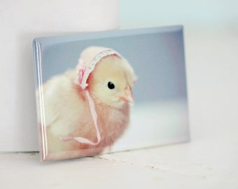 Chicks in Hats Chicken In A Miniature Pink Bonnet Cute Chickens Baby Animal Easter Magnet