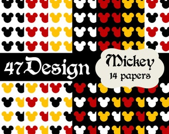 Mickey Mouse Digital Scrapbook Paper 14 12x12 300dpi jpeg jpg Printable Papers