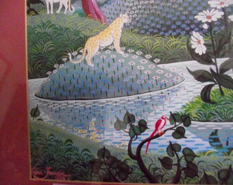 Large Retro Persian artwork / oriental Framed art  / Signed Asian art / vintage art / framed artwork /