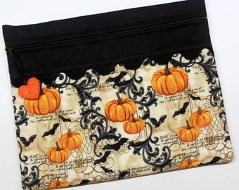 Bats and Pumpkins Cross Stitch Embroidery Project Bag