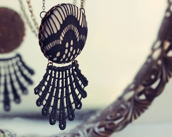 Art Deco Jewelry, Black Statement Necklace With Lace, Long Geometric Goth Pendant, Fan Shape