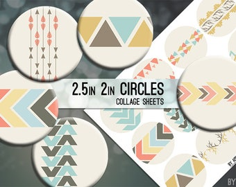 Tribal Geometric 2.5 Inch and 2in Circle Digital Collage Sheet Download Printable Images for Gift Tags Cards Scrapbooking JPG