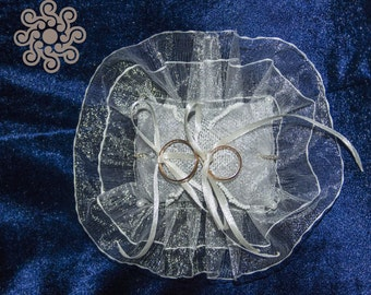 Silver ring-bearer pillow