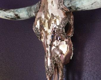 Decorated longhorn skull.  Luxury wall decor.