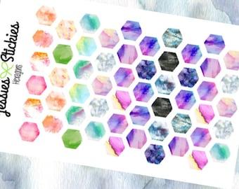 Hexagon Watercolor Stickers