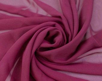 Mera Magenta Solid Hi-Multi Chiffon Fabric by the Yard, Chiffon Fabric, Wedding Chiffon, Lightweight Chiffon Fabric - Style 500
