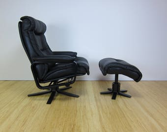 Skippers Mobler Black Leather+Bentwood Danish Reclining Lounge Chair and Ottoman