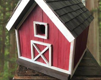 Solid Wood Barn Bird House