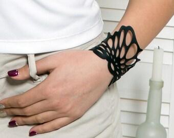 Laser cut leather bracelet , black leather bracelet , statement bracelet  , Boho bracelet , gothic jewelry(V-3126)