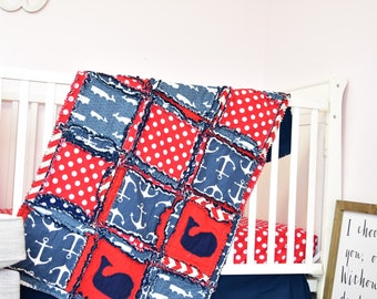 Nautical Bedding Boy Crib Bedding Set - Red / Navy - Set includes Crib Size Quilt, Crib Sheet, Pleated Crib Skirt, with optional Bumpers