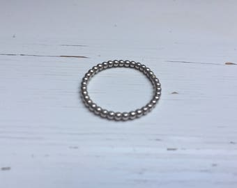 925 Silver Beaded Ring