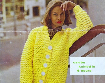 PDF Instant Download Vintage 1960's Knitting Pattern for a Women's Cardigan.  Quick to knit in garter stitch - 34- 38 inch chest.