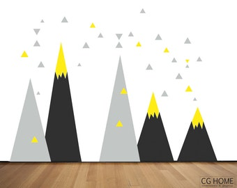 Mountains Wall Decal Woodland NURSERY Wall Art headboard Triangle For Kids Yellow Black Removable Wall Protect Washable Self Adhesive Decor
