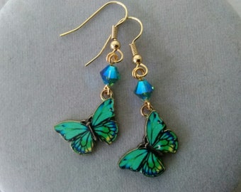 Green Butterfly and Swarovski Crystal Earrings