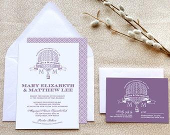 Hot Air Balloon Printable Wedding Invitations - Steampunk Wedding - Purple Wedding - Retro Wedding - Travel Wedding