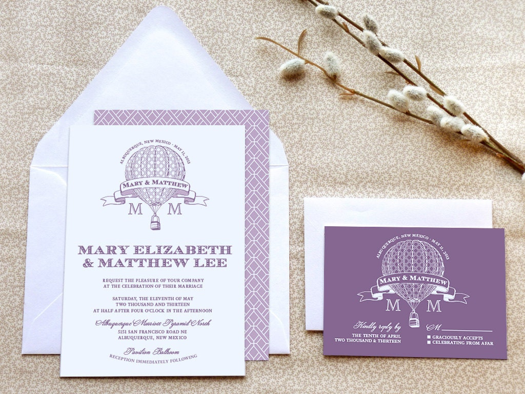 Hot Air Balloon Printable Wedding Invitations Steampunk