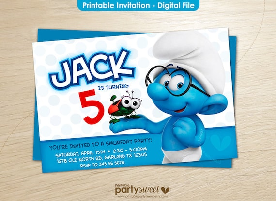 Smurfs Invitation Smurf birthday Smurfs Party Smurfs